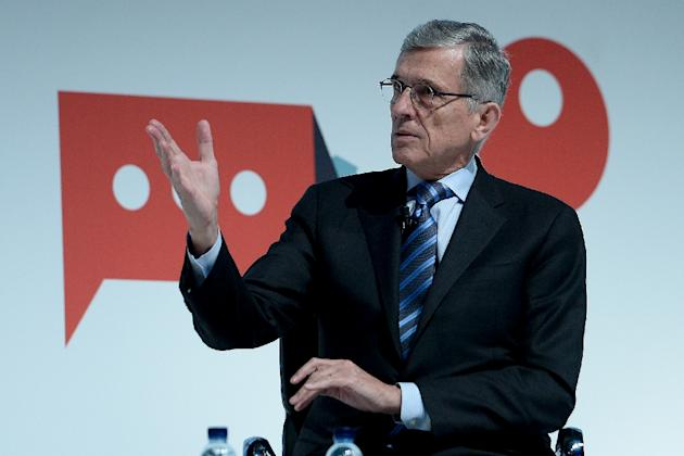 US Chairman at Federal Communications Commission Tom Wheeler during a conference at the 2015 Mobile World Congress in Barcelona, Spain, on March 3, 2015