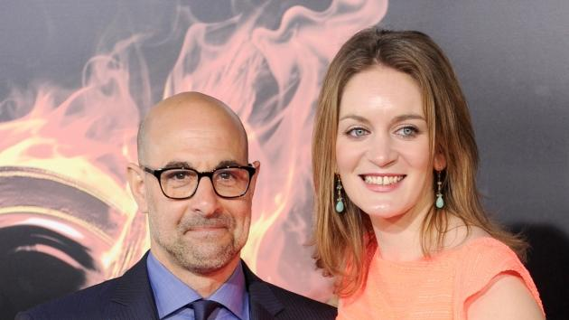 Stanley Tucci and Felicity Blunt arrive at 'The Hunger Games' Los Angeles premiere at Nokia Theatre L.A. Live in Los Angeles on March 12, 2012 -- Getty Premium