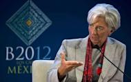 Managing Director of the IMF Christine Lagarde speaks at the World Economy panel discussion in the framework of the G20 Leaders Summit which starts in Cabo San Lucas. The International Monetary Fund, hoping to prevent a worsening of the global economic turmoil, called last year for $500 billion in an emergency firewall. But the money has fallen short and it lowered its goal to $430 billion