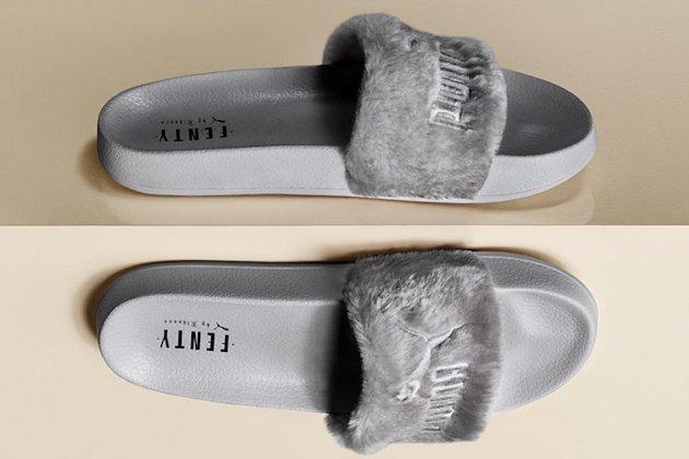 puma to release fenty faux fur slide in gray yahoo. Black Bedroom Furniture Sets. Home Design Ideas