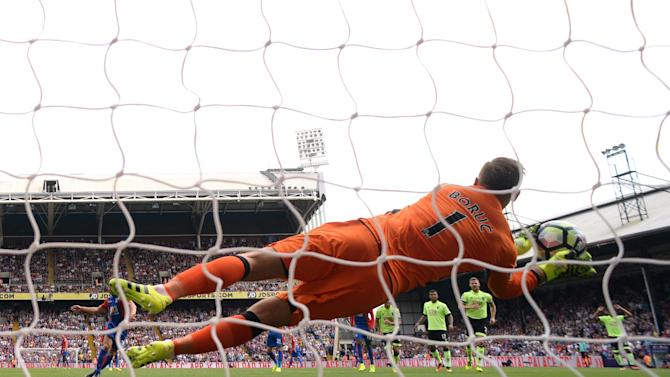 Bournemouth's Artur Boruc saves a penalty from Crystal Palace's Yohan Cabaye