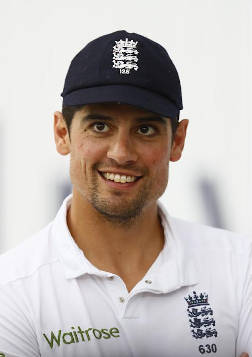England's Alastair Cook celebrates winning the second test
