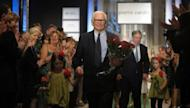 French designer Pierre Cardin, pictured on June 9, after presenting his haute couture collection at Serbia's royal palace in Belgrade