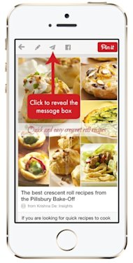 How To Use Pinterest Messages On Your Desktop Or Mobile Device image Pinterest marketing tip to share a Pin on your mobile app with a message you can click the send arrow at the top of the Pin1 303x600