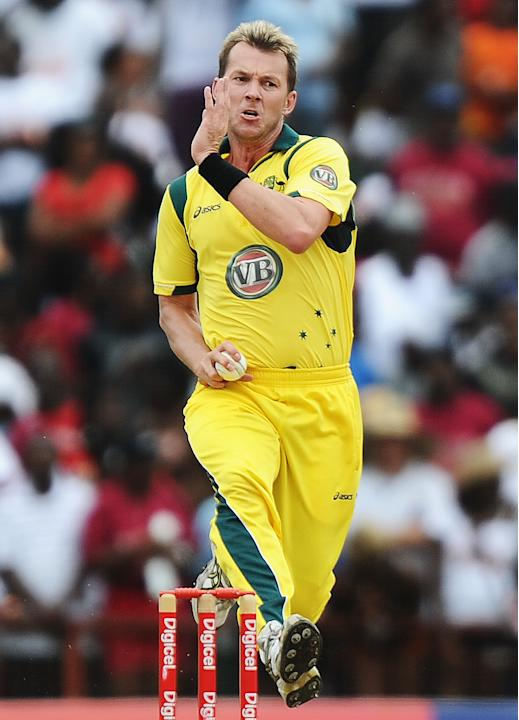 Australian cricketer Brett Lee delivers
