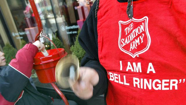 Salvation Army Bell Driving Woman Mad