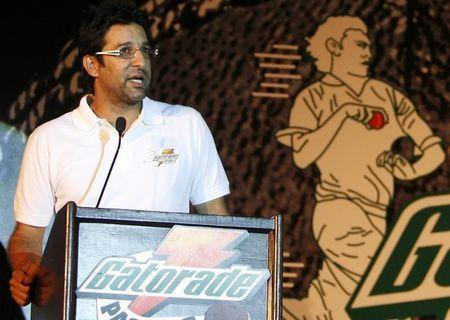 Akram, Pakistan's former cricket captain, speaks during a news conference organised by GCPE in New Delhi