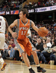 CLEVELAND, OH - MARCH 25: Steve Nash #13 of the Phoenix Suns looks to pass the ball in the second quarter of the game against the Cleveland Cavaliers at The Quicken Loans Arena on March 25, 2012 in Cleveland, Ohio. (Photo by David Liam Kyle/NBAE via Getty Images)