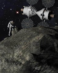 This artist's illustration depicts a 'Plymouth Rock' asteroid mission with astronauts and NASA's Orion spacecraft as envisioned by Lockheed Martin.