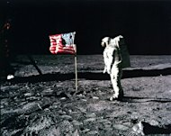 Buzz Aldrin salutes the U.S. flag on the surface of the moon.
