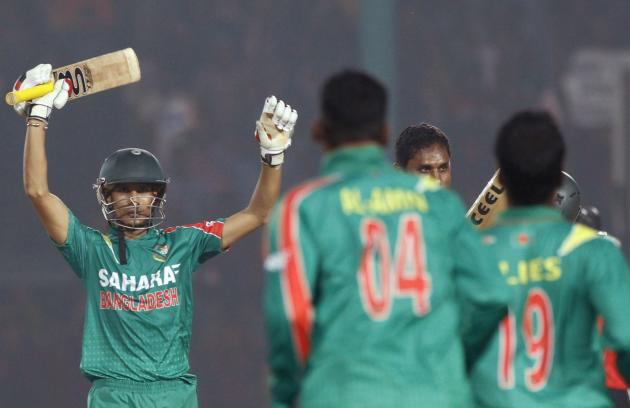 Bangladesh's Nasir Hossain celebrates with teammates after Bangladesh whitewashed New Zealand in their One-day International (ODI) cricket series in Narayanganj.