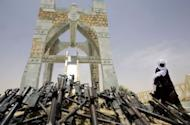 """Timbuktu's """"Flame of Peace"""" monument, built in 1995 with the weapons of the Tuareg rebellion. A new group of about 500 men who do not want to see northern Mali secede has taken over the city"""