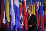US President Barack Obama arrives for a press conference at the closing of the NATO summit on May 21, 2012 in Chicago, Illinois. NATO leaders mapped a path out of the unpopular war in Afghanistan, backing plans to hand Afghans the combat lead from mid-2013 while vowing to stand by them as they seize their own destiny