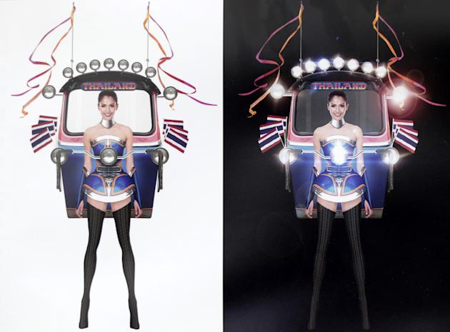 """This illustration released Wednesday, Oct. 7, 2015, by Miss Universe Thailand Organizer shows Miss Universe Thailand 2015 Aniporn Chalermburanawong wearing a dress that looks like a """"tuk-tuk,"""" a"""