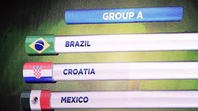 The teams in Group A for the 2014 World Cup finals are shown on the screen after the draw was made at the Costa do Sauipe resort in Sao Joao da Mata