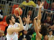 Spanish forward Pau Gasol (L) vies with Brazilian guard Anderson Varejao during the men's basketball preliminary round match Spain vs Brazil as part of the London 2012 Olympic Games at the Basketball Arena in London. NBA standout Leandrinho Barbosa scored 23 points to lead a second-half rally that lifted Brazil over Spain 88-82