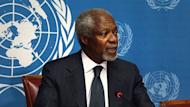 UN-Arab League envoy for Syria Kofi Annan announces he will step down from the role on August 2, 2012 at the United Nations office in Geneva. Annan resigned complaining the international community had not done enough to support his bid to persuade Bashar al-Assad to accept a peace plan
