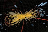 An undated handout graphic distributed by the European Organization for Nuclear Research (CERN) in Geneva shows a representation of a proton-proton collision event measured in the Compact Muon Solenoid (CMS) experience in the search for the Higgs boson
