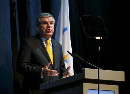 International Olympic Committee President Thomas Bach speaks during the opening ceremony of the 128th IOC Session in Malaysia's capital city of Kuala Lumpur