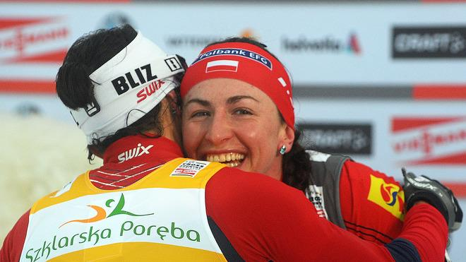Second-placed Norway's Marit Bjoergen Congratulates AFP/Getty Images