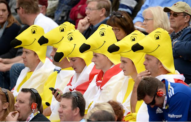 Fans in fancy dress look on during the match