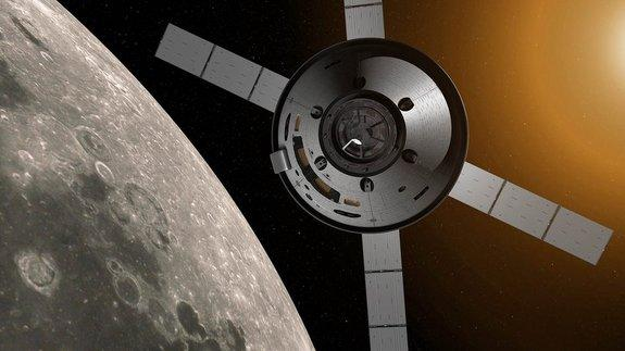 NASA's Orion spacecraft will carry astronauts further into space than ever before using a module based on Europe's Automated Transfer Vehicles (ATV). ATV's distinctive four-wing solar array is recognisable in this concept. The ATV-derived ser