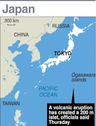 Graphic map showing the new islet created by a volcanic eruption in southern Japan
