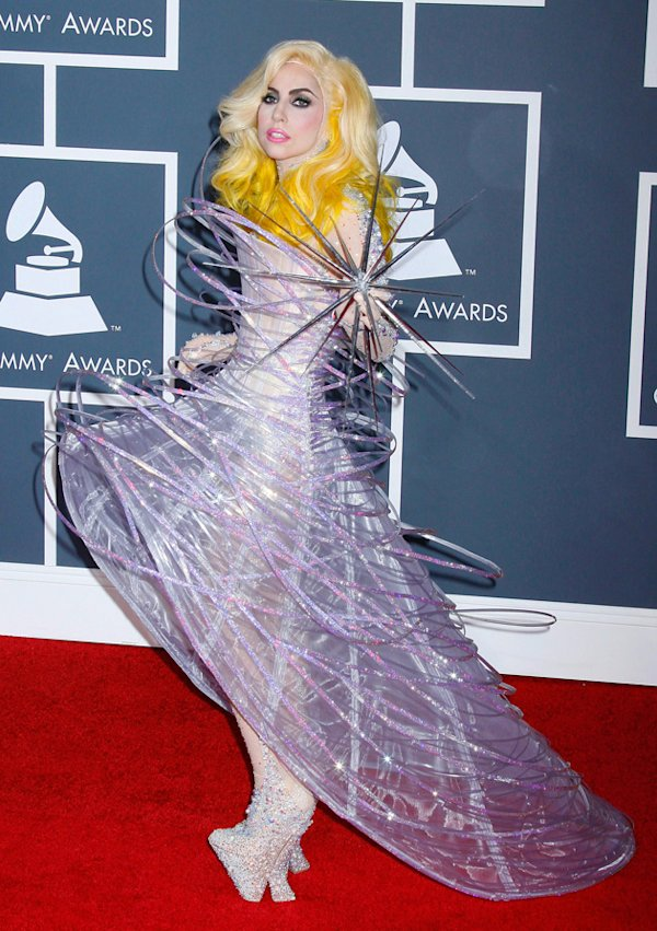 GaGa wore a wide skirted outfit to the Grammy Awards in Los Angeles in January 2010 / WENN ...