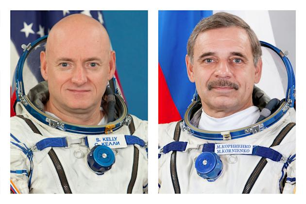 This combination of August 2010 and February 2015 photos provided by the Russian Federal Space Agency (Roscosmos) and the Gagarin Cosmonaut Training Center (GCTC) shows astronaut Scott Kelly and cosmo