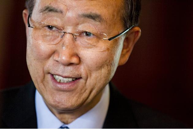 U.N. Secretary-General Ban Ki-moon smiles during a meeting with Norway's Foreign Minister Borge Brende at the prime minister's residence in Oslo