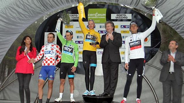 US Tejay Van Garderen (R), British Christopher Froome (C), Australian Richie Porte (2L) and French Jeremy Roy (L) pose on the podium after the 82nd Criterium International cycling race in Porto Vecchio (AFP)