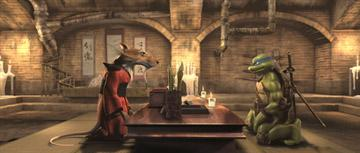 Splinter (voiced by Mako ) and Leonardo (voiced by James Arnold Taylor ) in Warner Bros. Pictures' TMNT