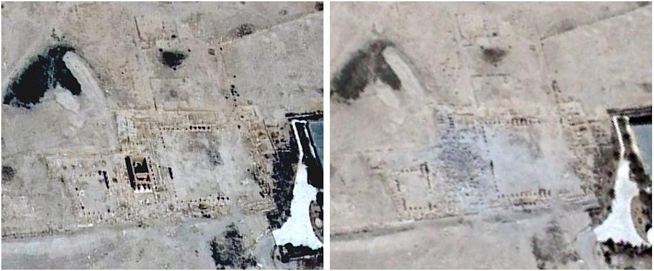 Combination picture of handout satellite images by the U.S. Department of State and Airbus Defense and Space shows the site of the Baal Shamin Temple in Palmyra, Syria