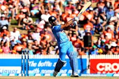 HAMILTON, NEW ZEALAND - JANUARY 28: MS Dhoni of India bats during game four of the men's one day international series between New Zealand and India at Seddon Park on January 28, 2014 in Hamilton, New Zealand. (Photo by Phil Walter/Getty Images)
