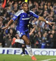 Chelsea's Ivorian forward Didier Drogba celebrates after scoring a goal during the EUFA Champions League semi-final first leg football match vs Barcelona at Stamford Bridge in London. Drogba scored the only goal as Chelsea stunned holders Barcelona to score a 1-0 upset victory