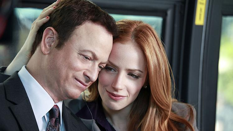 """Indelible"" -- On Sept. 11, 2001, Mac and Claire Taylor (Gary Sinise and Jaime Ray Newman) ride the bus to work together, in a flashback on the eighth season premiere of CSI: NY, Friday, Sept. 23 (9:00-10:00 PM, ET/PT) on the CBS Television Network. Photo: Richard Cartwright/CBS ©2011 CBS Broadcasting Inc. All Rights Reserved. <a href=""/baselineshow/4769320"">CSI: New York</a>"