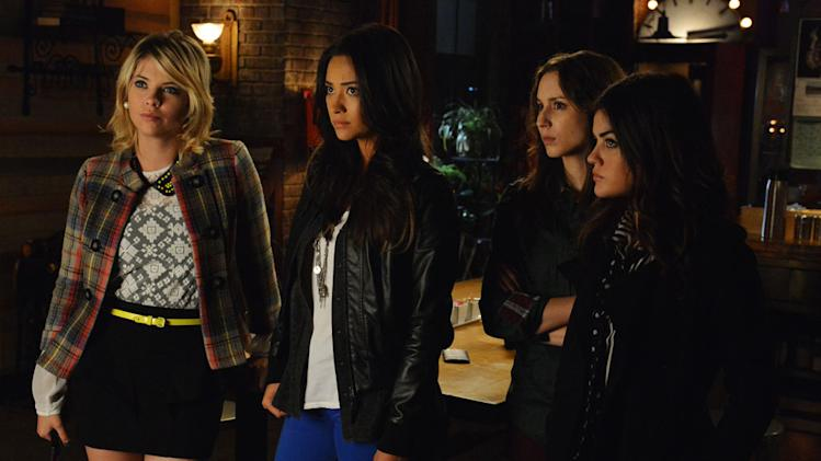 """Pretty Little Liars"" -- ""Hot Water"" ASHLEY BENSON, SHAY MITCHELL, TROIAN BELLISARIO, LUCY HALE"