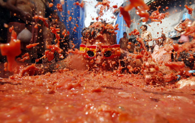 A reveler plays in tomato pulp during the annual