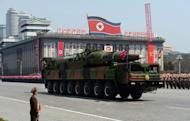 A military vehicle carries what is believed to be a Taepodong-class missile Intermediary Range Ballistic Missile (IRBM) during a military parade in Pyongyang on April 15, 2012. Several analysts believe North Korea will conduct a third nuclear weapons test, following tests in 2006 and 2009 that also followed rocket launches