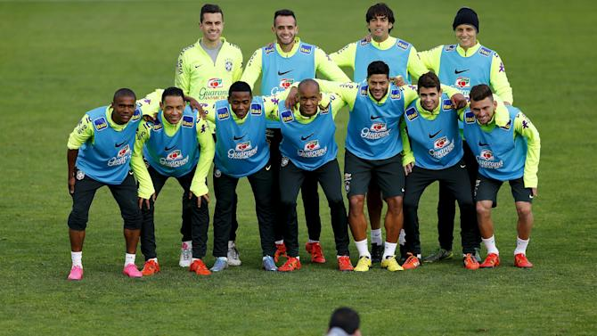 Brazil's players pose for a picture during a team training session in Santiago