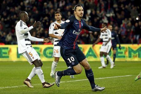 Paris St Germain's Zlatan Ibrahimovic celebrates after scoring a goal