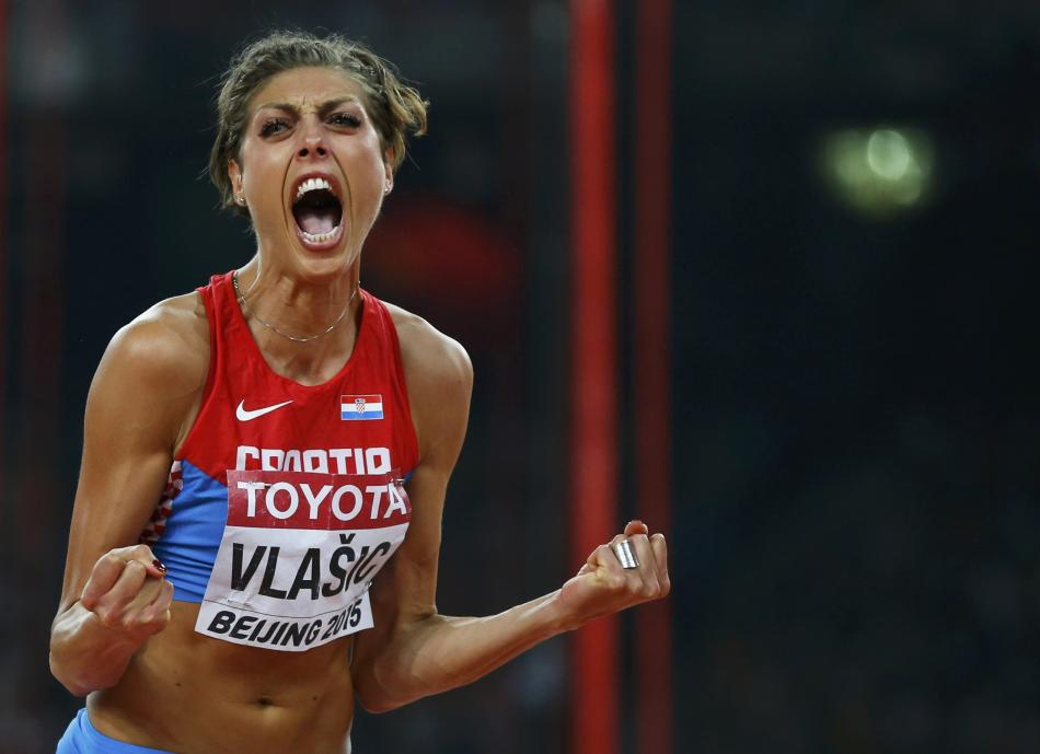 Vlasic of Croatia reacts during the women's high jump final at the 15th IAAF World Championships at the National Stadium in Beijing