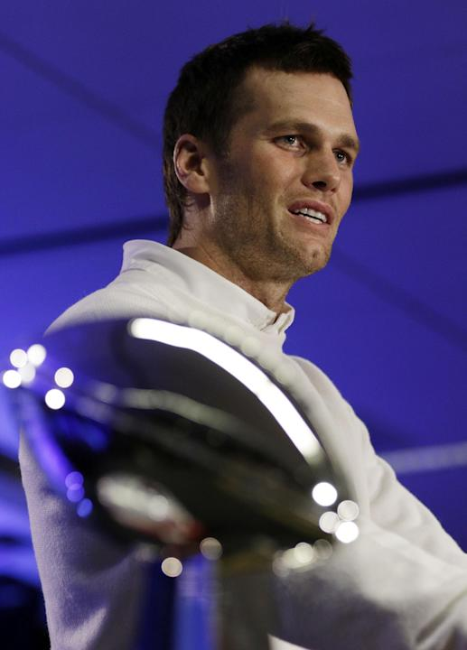 New England Patriots quarterback Tom Brady speaks during a news conference after the NFL Super Bowl XLIX football game Monday, Feb. 2, 2015, in Phoenix, Ariz. The Patriots beat the Seattle Seahawks 28