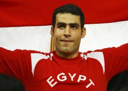 El Sayed of Egypt celebrates after winning silver at the men's javelin throw final during the 15th IAAF World Championships at the National Stadium in Beijing