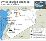 Map of Syria locating suspected chemical weapons sites