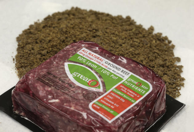 In this Oct. 1, 2015, photo, a pound of ground beef with additional omega-3 fatty acids is seen with the flaxseed supplement fed to cattle to produce the beef, at GreatO Premium Foods in Manhattan, Ka