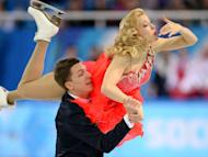 Russia's Ekaterina Bobrova and Russia's Dmitri Soloviev perform in the Figure Skating Team Ice Dance Short Dance at the Iceberg Skating Palace during the Sochi Winter Olympics on February 8, 2014