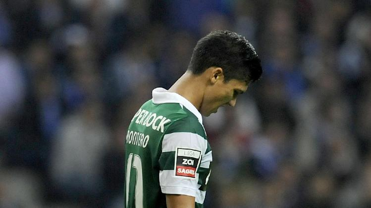Sporting's Fredy Montero, from Colombia, reacts after missing a chance to score against  FC Porto in a Portuguese League soccer match at the Dragao stadium in Porto, Portugal, Sunday, Oct. 27, 2013. Porto won 3-1 and stands at the top of the league ahead of Lisbon rivals Benfica and Sporting