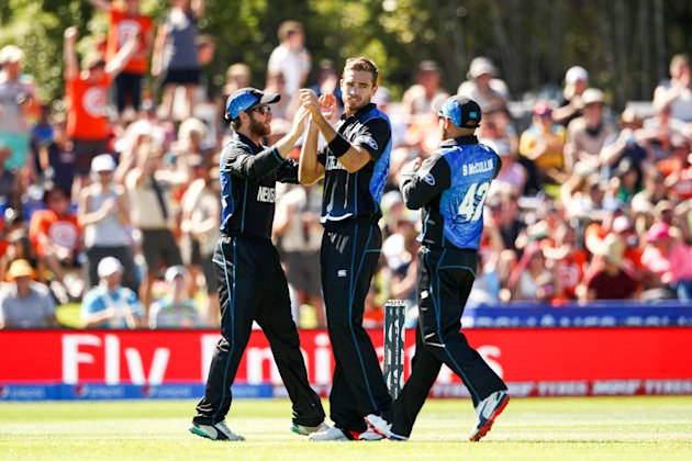 Tim Southee celebrates a wicket against Scotland.