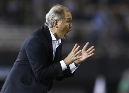 Argentina's coach Alejandro Sabella leads his team against Peru during their 2014 World Cup qualifying soccer match in Buenos Aires